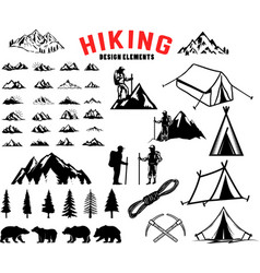 set of hiking outdoor mountains design elements vector image vector image