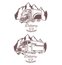 Set of logos heavy truck vector