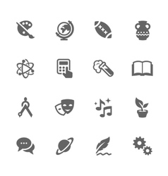 Simple school subject icons vector