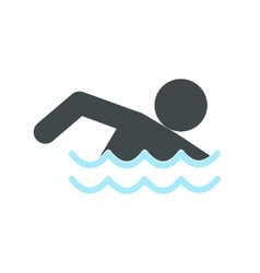 Swimmer icon flat vector