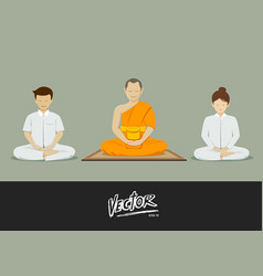 thai monks and people meditation vector image