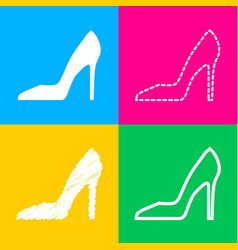 Woman shoe sign four styles of icon on four color vector