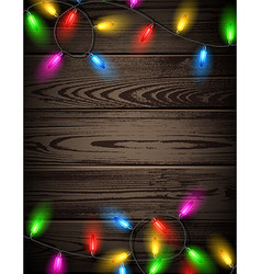 Wooden card with Christmas lights vector image