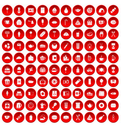 100 cafe icons set red vector