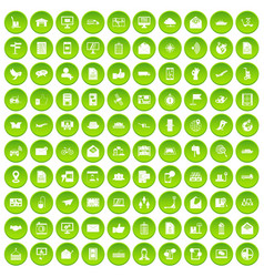 100 post and mail icons set green circle vector