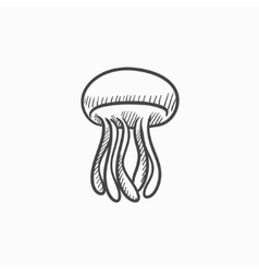 Jellyfish sketch icon vector