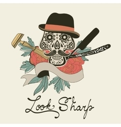Look sharp Skull with mustache Retro style hand vector image