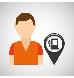 Gas station pin location man design vector
