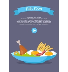 Fast food conceptual flat style web banner vector