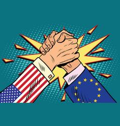 Usa vs eu arm wrestling fight confrontation vector