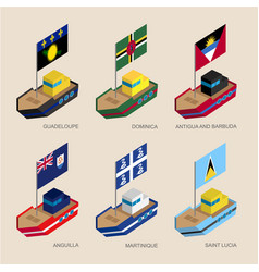 Isometric ships with flags vector