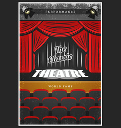 vintage colored theatre advertising poster vector image