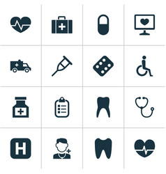 Antibiotic icons set collection of handicapped vector