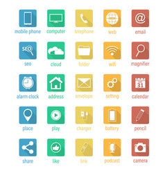 Set of flat square icons vector