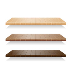 Set of wood shelves on white background vector