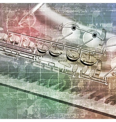 Abstract grunge sound background with saxophone vector