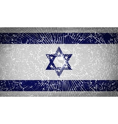Flags israel with broken glass texture vector