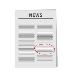 Newspaper icon red pen skrible mark flat design vector