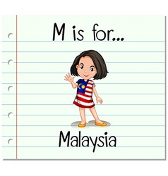 Flashcard letter m is for malaysia vector