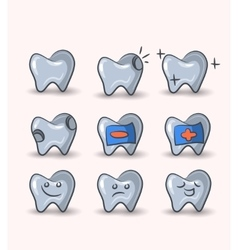 Teeth set on white background vector