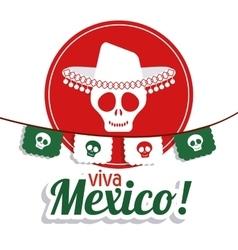 Skull icon mexico culture graphic vector