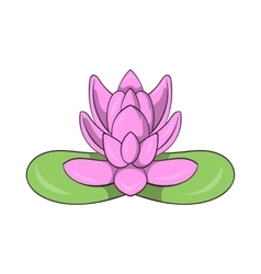 Pink lotus flower icon cartoon style vector