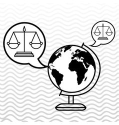 World and justice isolated icon design vector