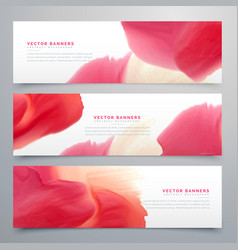 Abstract red watercolor banner set vector