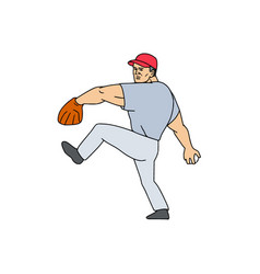 Baseball player pitcher ready to throw ball vector