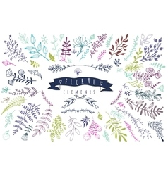 Big collection of different hand drawn floral vector