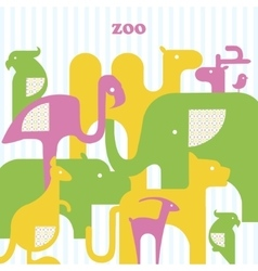 Card with animals animal set vector image