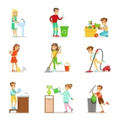Children Helping With Home Cleanup Washing The vector image vector image