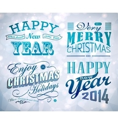 Christmas and Happy New Year typography vector image vector image