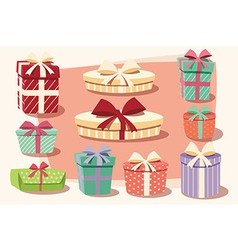 Collection of colorful gift boxes bows and ribbons vector image vector image