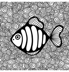 Doodle pattern with black and white fish image for vector image vector image