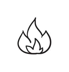 Fire sketch ico vector