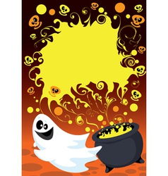 Halloween ghost card vector image