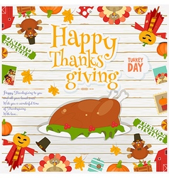 Happy thanksgiving card turkey vector
