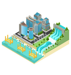 isometric eco city template vector image