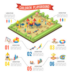 isometric playground infographic concept vector image