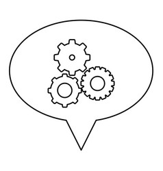 Monochrome contour of oval speech with pinions set vector