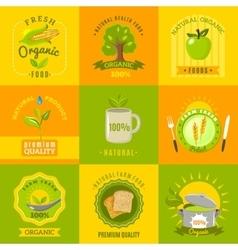 Natural food emblems flat icons set vector image vector image