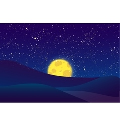 Night moon shining stars on dark blue sky vector