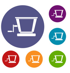 Old grape juicer icons set vector