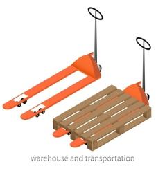 Orange pallet truck vector