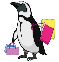 Penguin with bags vector