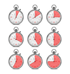 realistic classic metal stopwatch set vector image