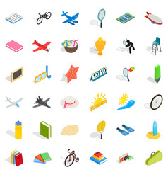 Rest of kid icons set isometric style vector