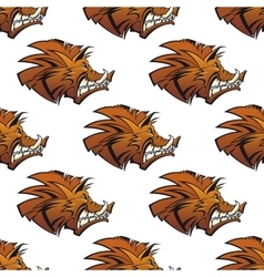 Seamless pattern of wild boars with tusks vector