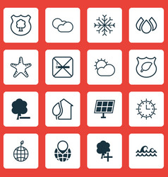 Set of 16 eco icons includes timber cigarette vector